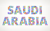 Saudi Arabia Business and Finance Vector Buttons. This vector graphic composition features the main word composed of colorful round buttons. The buttons vary in color and size and have white business icons in the middle. The icons are specific to business and financial industry. They assemble the word as part of an icon set but each icon can also be used separately. Icons include popular business imagery such as money, business people, office buildings and many other visual representations of the modern business world.
