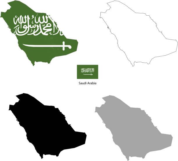 ilustraciones, imágenes clip art, dibujos animados e iconos de stock de país de arabia saudí, silueta negra y con bandera sobre un fondo - mapa de oriente medio