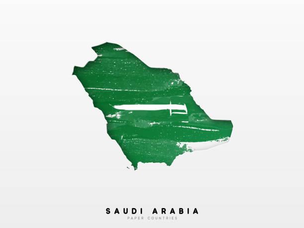 suudi arabistan ülke bayrağı ile detaylı harita. ulusal bayrağın suluboya renkleri boyalı - saudi national day stock illustrations
