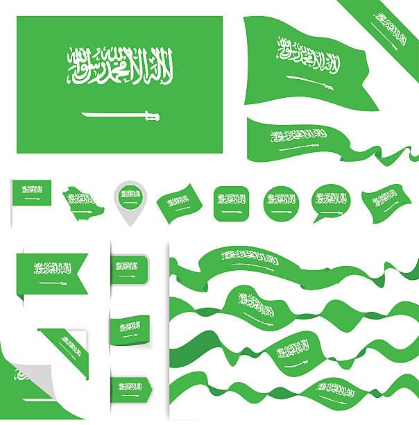 saudi arabia flag set - saudi national day stock illustrations