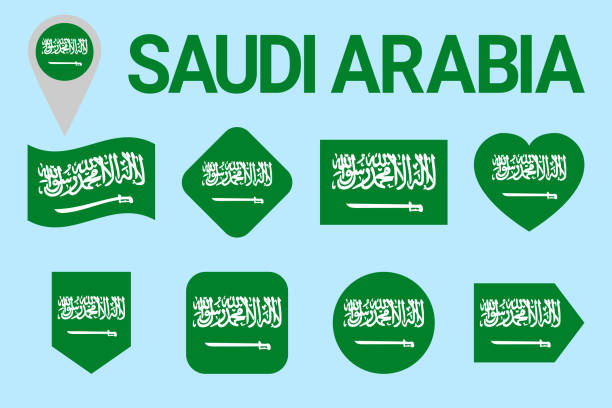 saudi arabia flag vector set. saudi arabian natioanl symbols collection. geometric shapes. flat style. sports, national, travel, geographic, patriotic, design elements. isolated icons with state name. - saudi national day stock illustrations