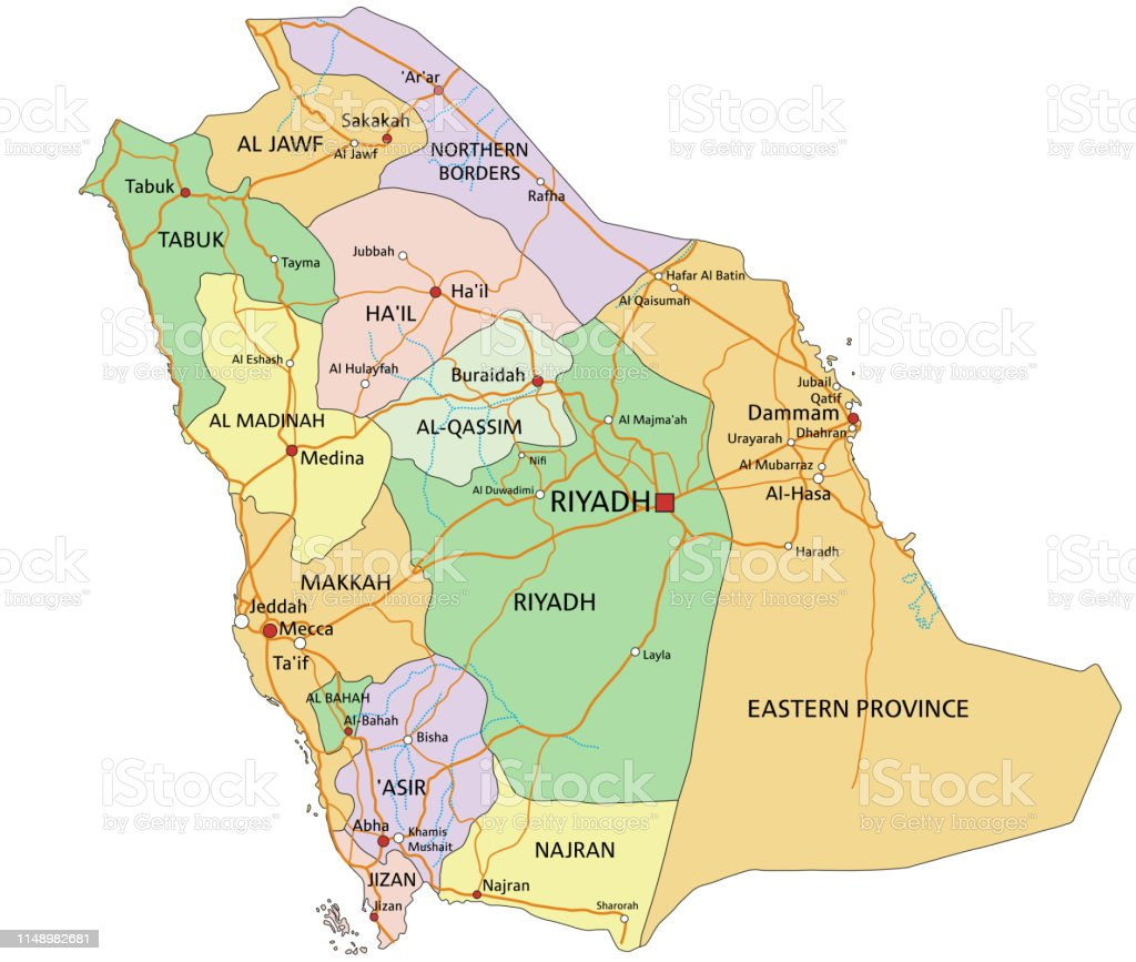 Saudi Arabia Highly Detailed Editable Political Map With ...