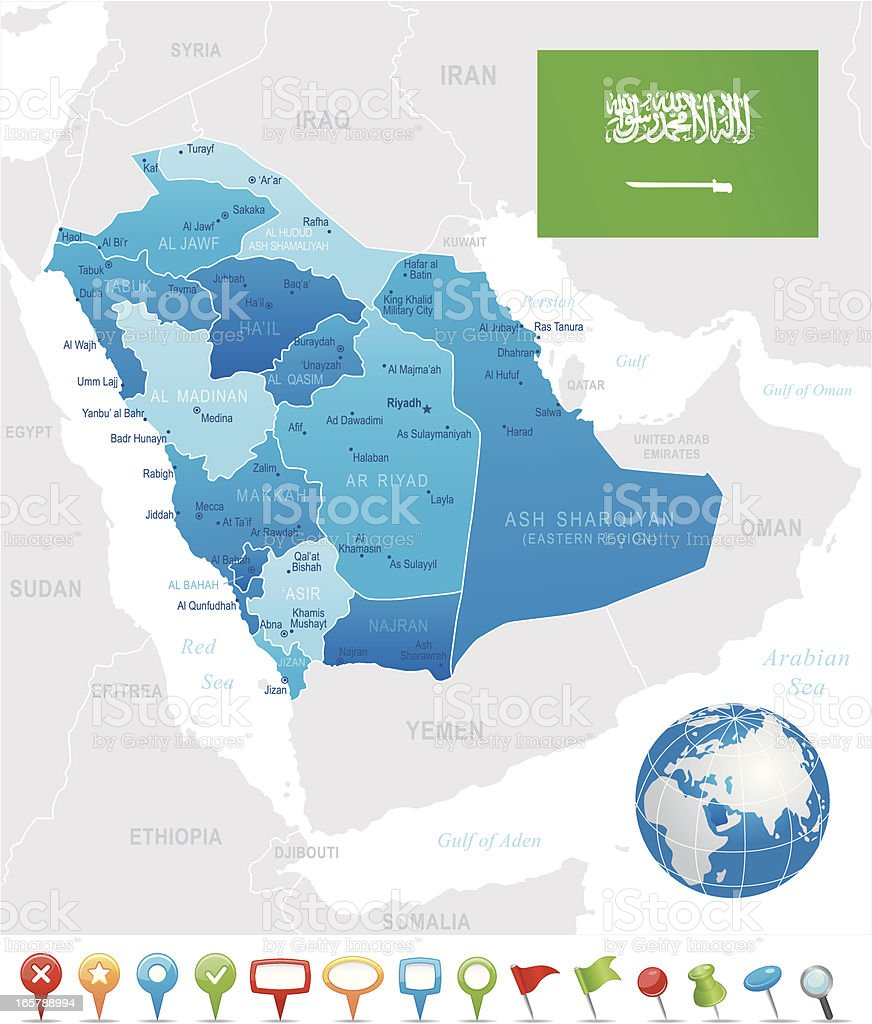 Saudi Arabia - highly detailed map royalty-free stock vector art