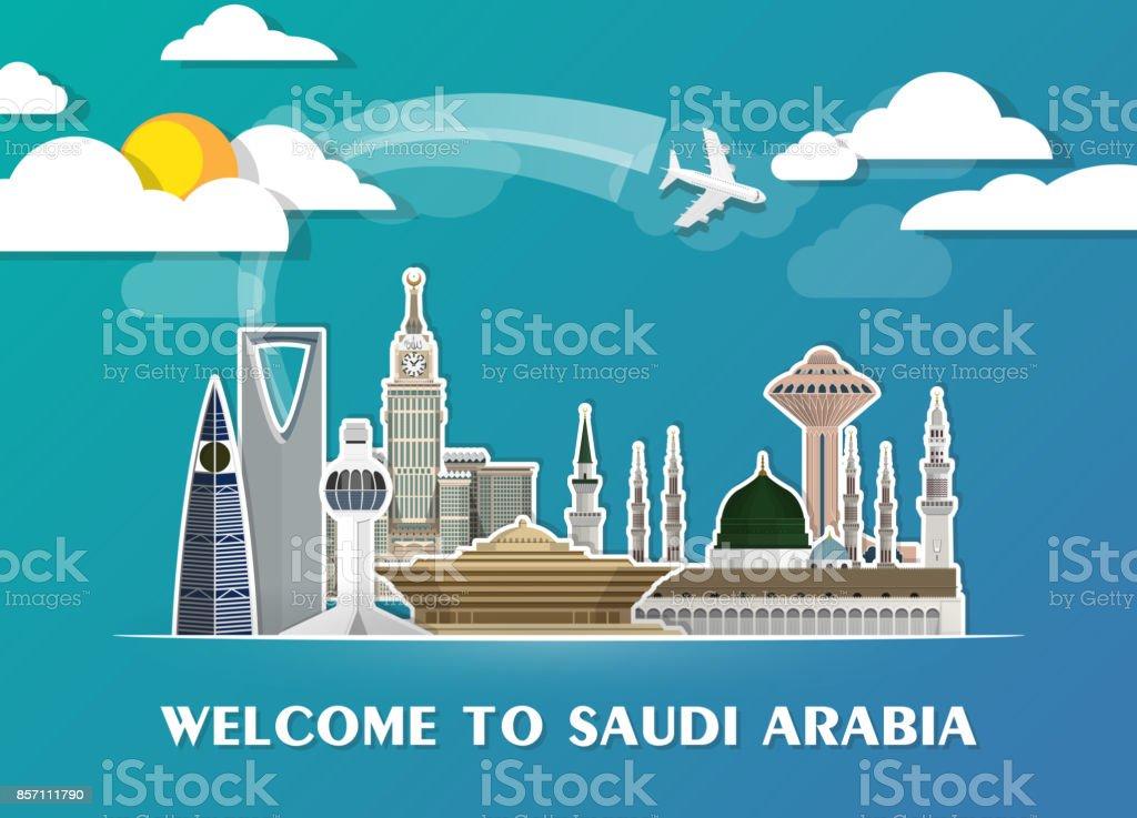 Saudi Arabia Landmark Global Travel And Journey Paper Background Vector Design Templateused For
