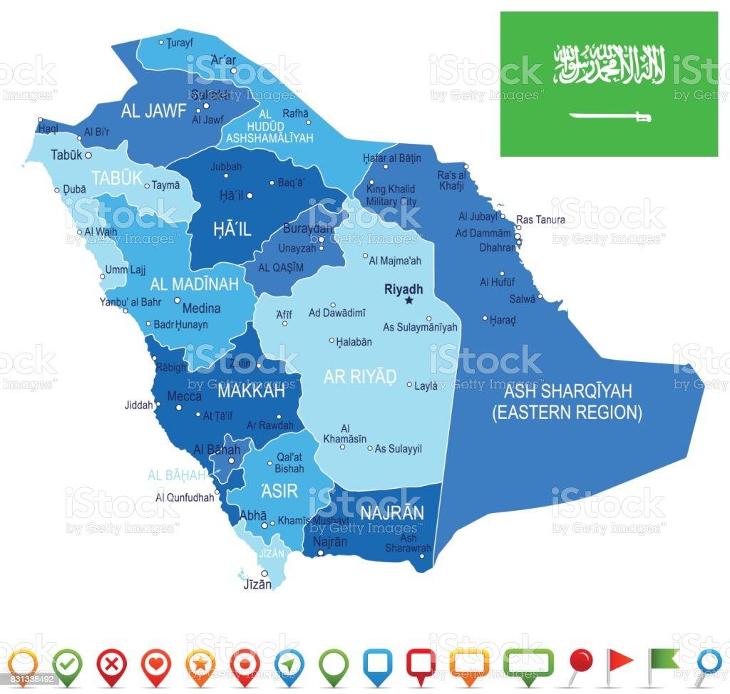 Saudi Arabia Map And Flag Illustration Stock Vector Art More