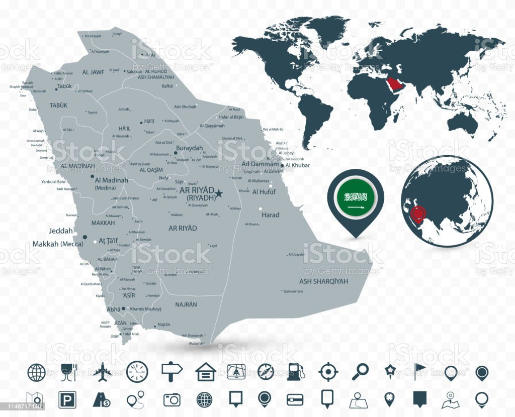 Saudi Arabia Map And World Map Isolated On Transparent ...