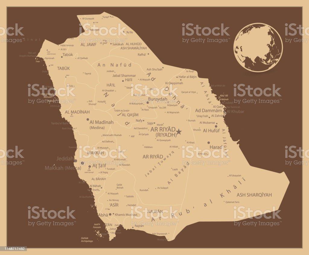 Arabie Saoudite Carte Couleurs Antiques Vecteurs libres de droits et