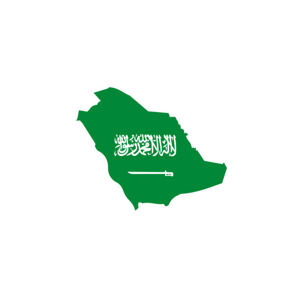 saudi arabia map icon with flag color - saudi national day stock illustrations