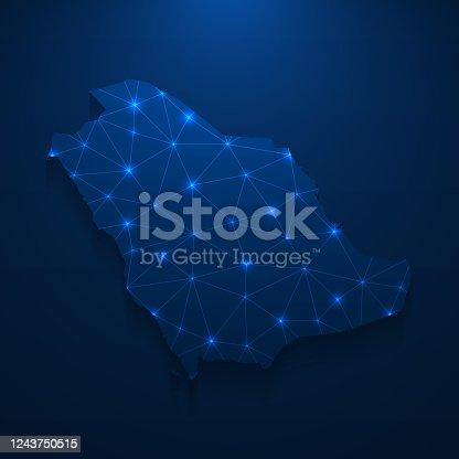 istock Saudi Arabia map network - Bright mesh on dark blue background 1243750515