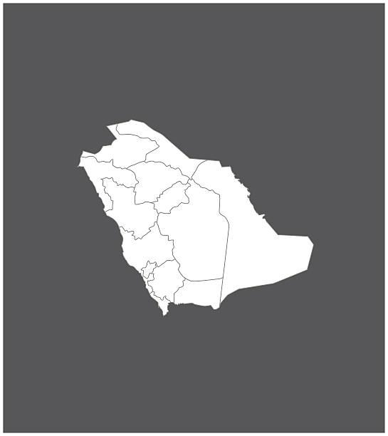 ilustraciones, imágenes clip art, dibujos animados e iconos de stock de arabia saudita mapa resumen de vectores de fondo gris - mapa de oriente medio