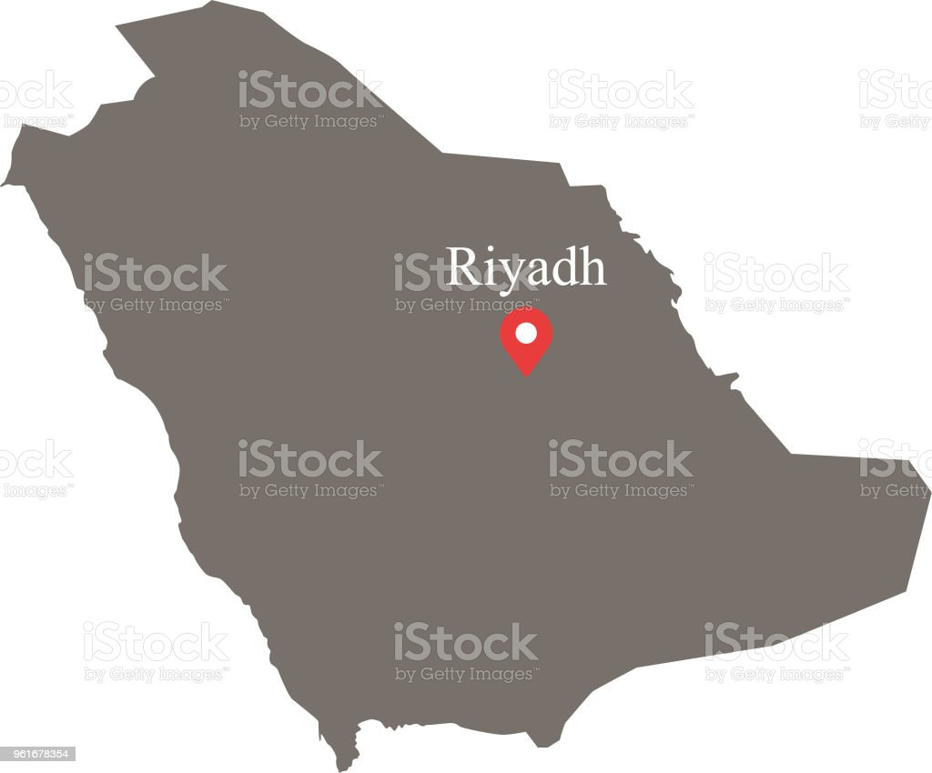 Saudi Arabia Map Vector Outline With Capital Location And ...