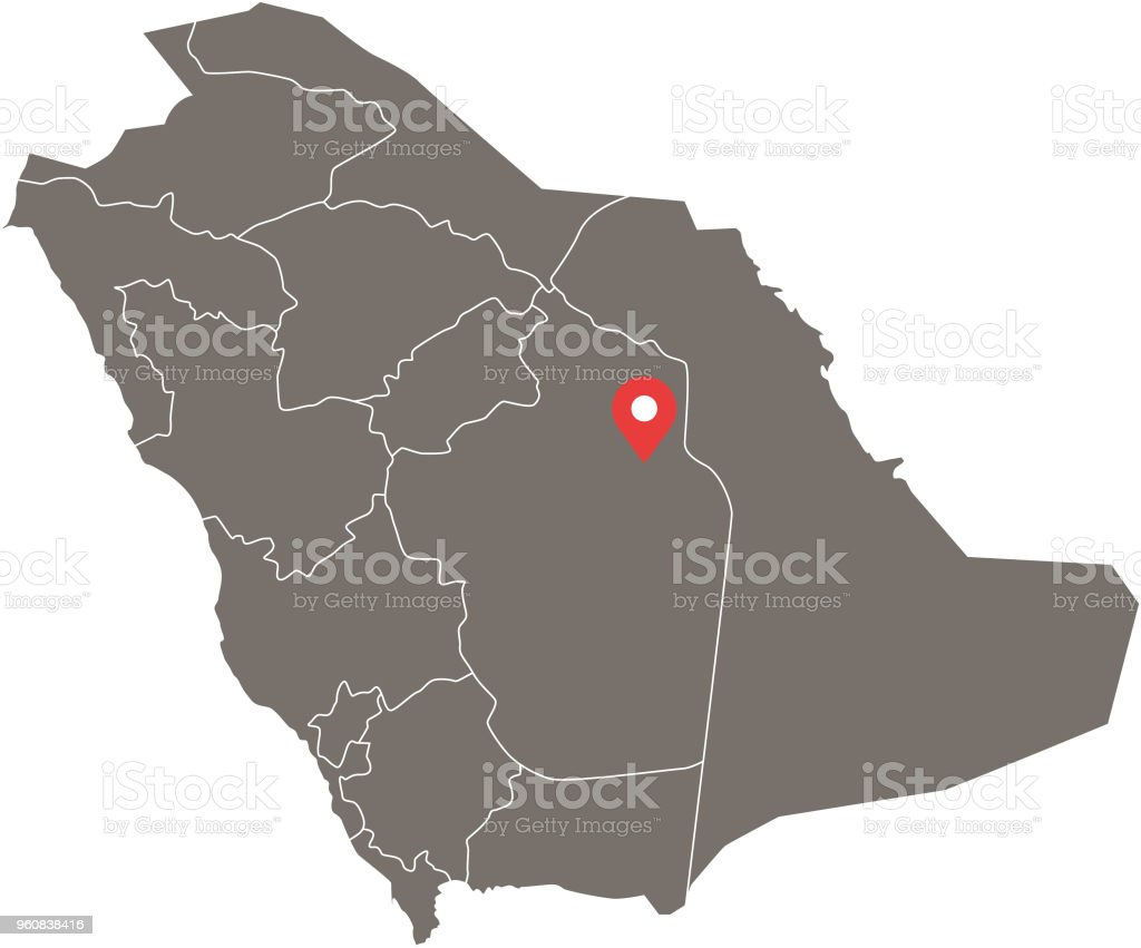 Saudi Arabia Map Vector Outline With Provinces Or States ...