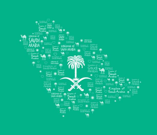 Arabia Saudita mapa con hermoso diseño en verde - ilustración de arte vectorial