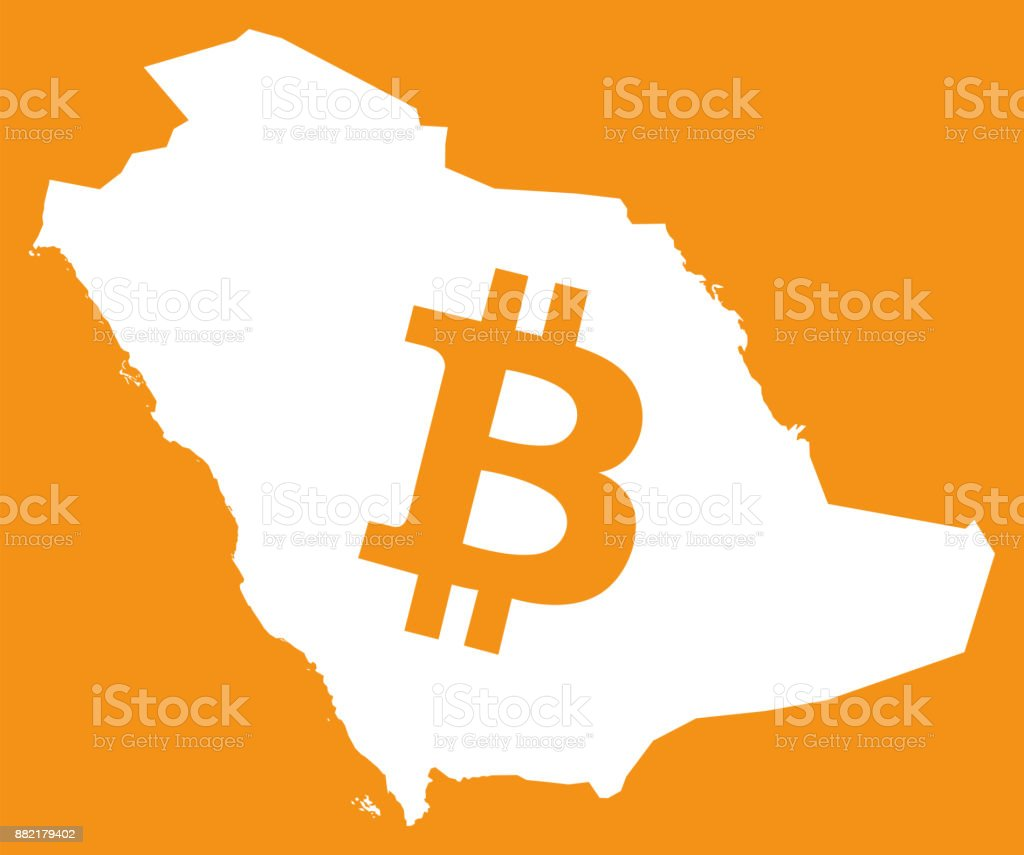 Saudi Arabia Map With Bitcoin Crypto Currency Symbol Illustration