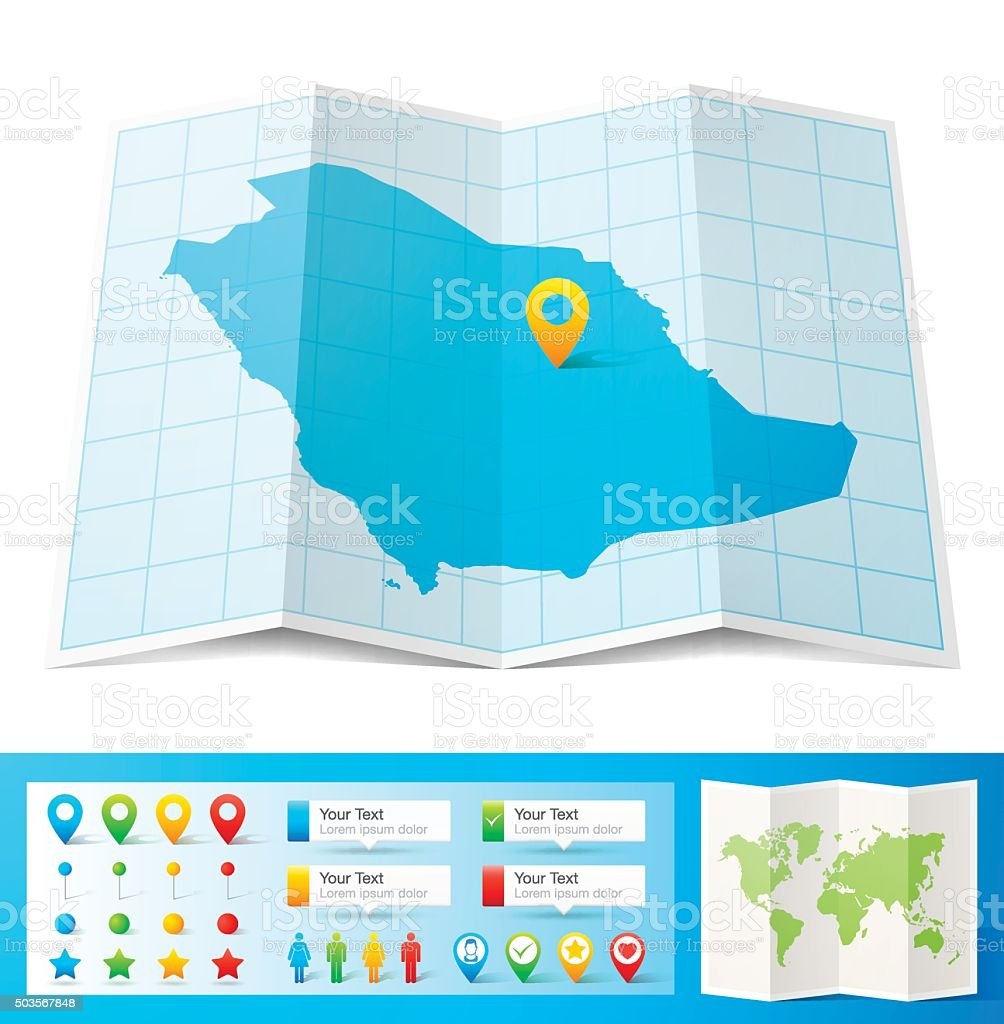 Saudi Arabia Map With Location Pins Isolated On White ...