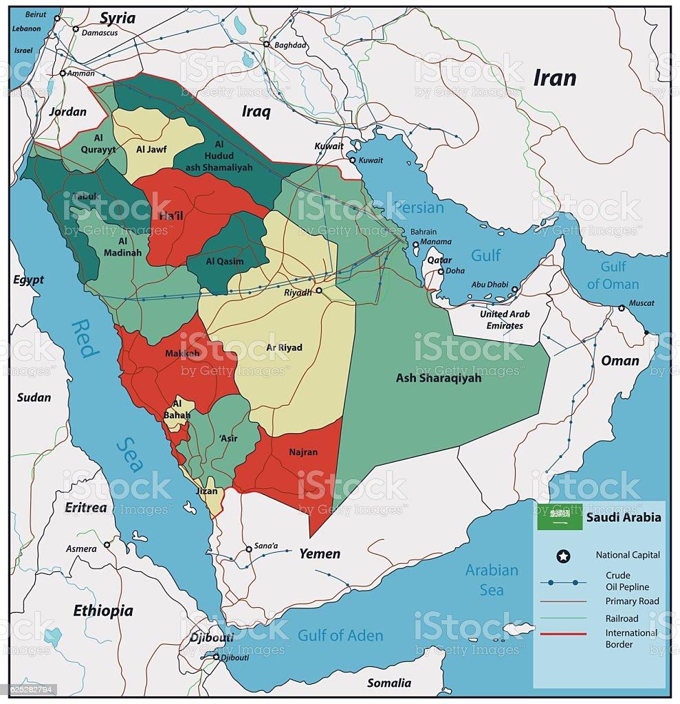 Saudi Arabia Map With Selectable Territories Vector Stock Vector Art ...