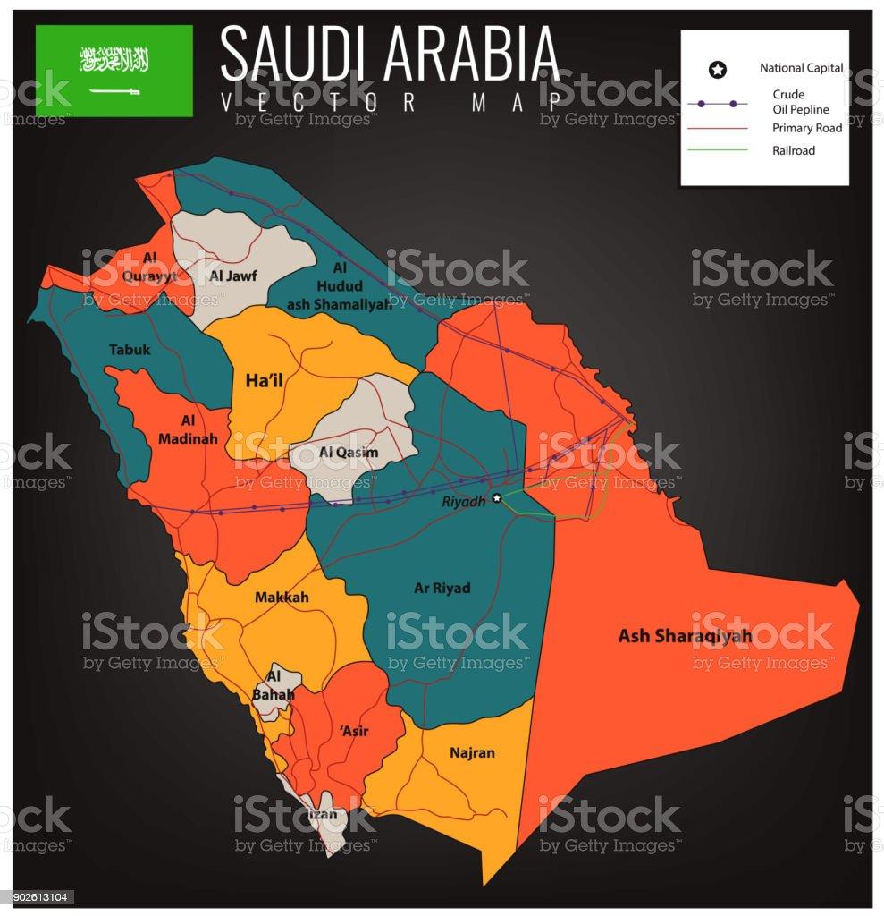 Saudi Arabia Map With Selectable Territories Vector Stock ... on map jordan and saudi arabia, map of bahrain and jordan, map of bahrain and surrounding countries, map of bahrain and india,