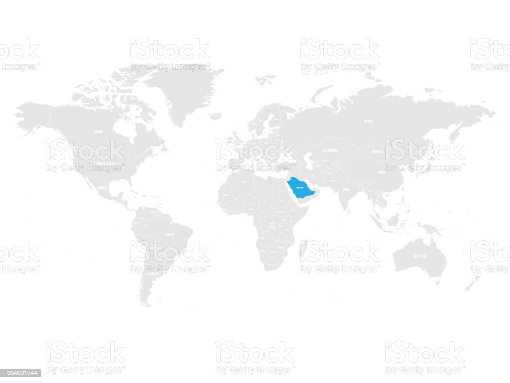 Saudi Arabia Marked By Blue In Grey World Political Map Vector