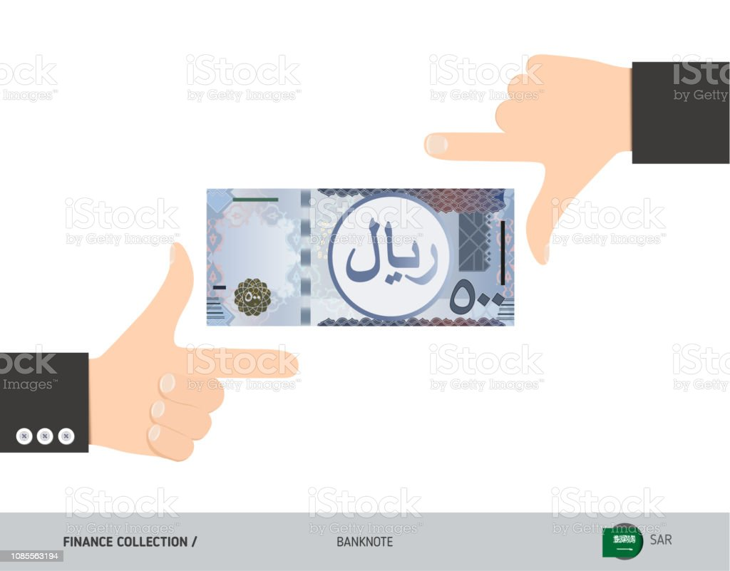 500 Saudi Arabia Riyal Banknote Business Hands Measuring Banknote