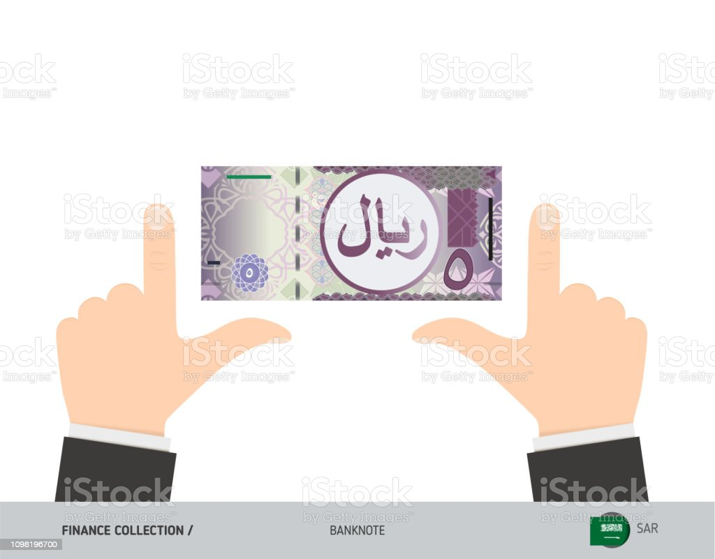 5 Saudi Arabia Riyal Banknote Business Hands Measuring Banknote Flat Style  Vector Illustration Business Finance Concept Stock Illustration - Download