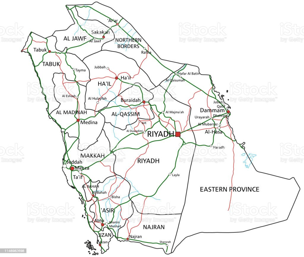 Saudi Arabia Road And Highway Map Vector Illustration Stock ... on dammam road map, eastern australia road map, syria road map, makkah road map, riyadh road map, al riyadh map, jordan country highway map, pakistan road map, gulf gcc map, sinai peninsula road map, nevis road map, montserrat road map, costa rica road map, french guiana road map, brazil road map, st barts road map, mecca road map, paraguay road map, medina road map, palau road map,