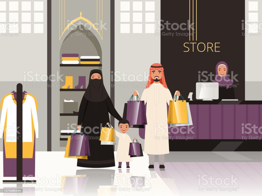 Saudi in market. Arabic family checkout in grocery store shop or supermarket pay money for foods vector cartoon background vector art illustration