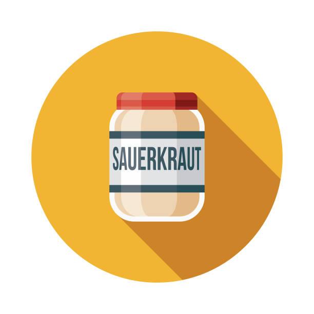 sauerkraut-flachen design-deutschland-ikone - sauerkraut stock-grafiken, -clipart, -cartoons und -symbole