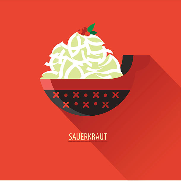sauerkraut mit preiselbeeren in einer hölzernen schild gemalt. symbol - sauerkraut stock-grafiken, -clipart, -cartoons und -symbole