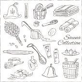 Sauna accessories doodle set. Sketch