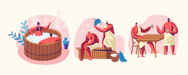 stockillustraties, clipart, cartoons en iconen met sauna en spa water procedures. ontspanning, lichaamsverzorging therapie, paar in houten bad, mannen zittend op bankje in stoomkamer met bezem, drinken dragen. wellness, hygiëne, cartoon platte vector illustratie - sauna