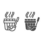 istock Sauna bucket and ladle line and solid icon, spa concept, Bath wooden tub with big spoon sign on white background , Sauna accessories icon in outline style for mobile and web design. Vector graphics. 1248349369