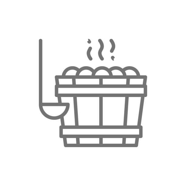 stockillustraties, clipart, cartoons en iconen met sauna emmer, emmer met stenen voor badhuis lijn icoon. - sauna