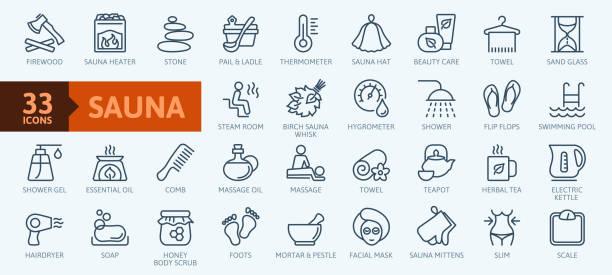 illustrazioni stock, clip art, cartoni animati e icone di tendenza di elementi sauna - set di icone web a linea sottile. raccolta icone contorno. semplice illustrazione vettoriale. - sauna