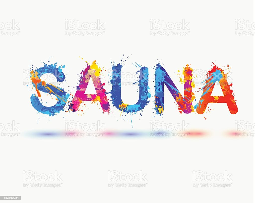 sauna german word splash paint のイラスト素材 583860034 istock