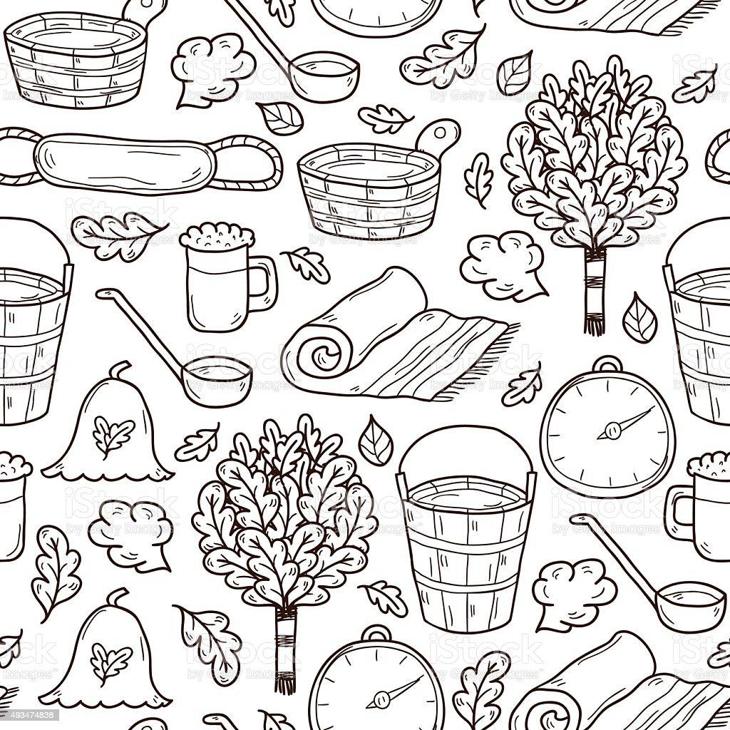 Sauna hand drawn seamless background vector art illustration