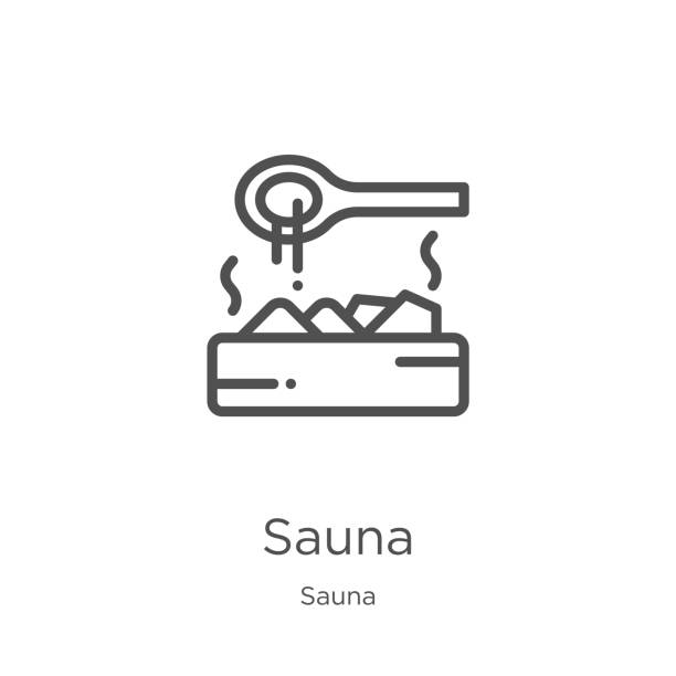 stockillustraties, clipart, cartoons en iconen met sauna icon vector van sauna collectie. dunne lijn sauna outline icon vector illustratie. outline, dunne lijn sauna icoon voor website design en mobiele, app ontwikkeling - sauna