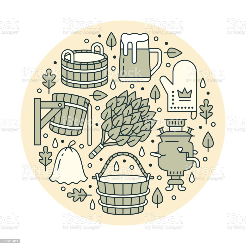 Sauna, steam bath room banner illustration with flat line icons. Bathroom equipment birch, oak broom, bucket, beer, samovar. Finnish, russian banya. Circle template thin linear signs spa green poster vector art illustration