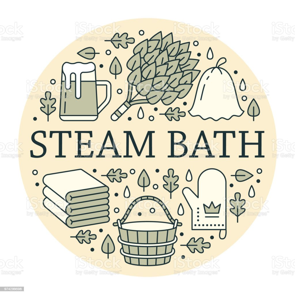 Sauna, steam bath room banner illustration with flat line icons. Bathroom equipment birch, oak broom, bucket, beer. Finnish, russian banya. Circle template thin linear signs spa poster vector art illustration