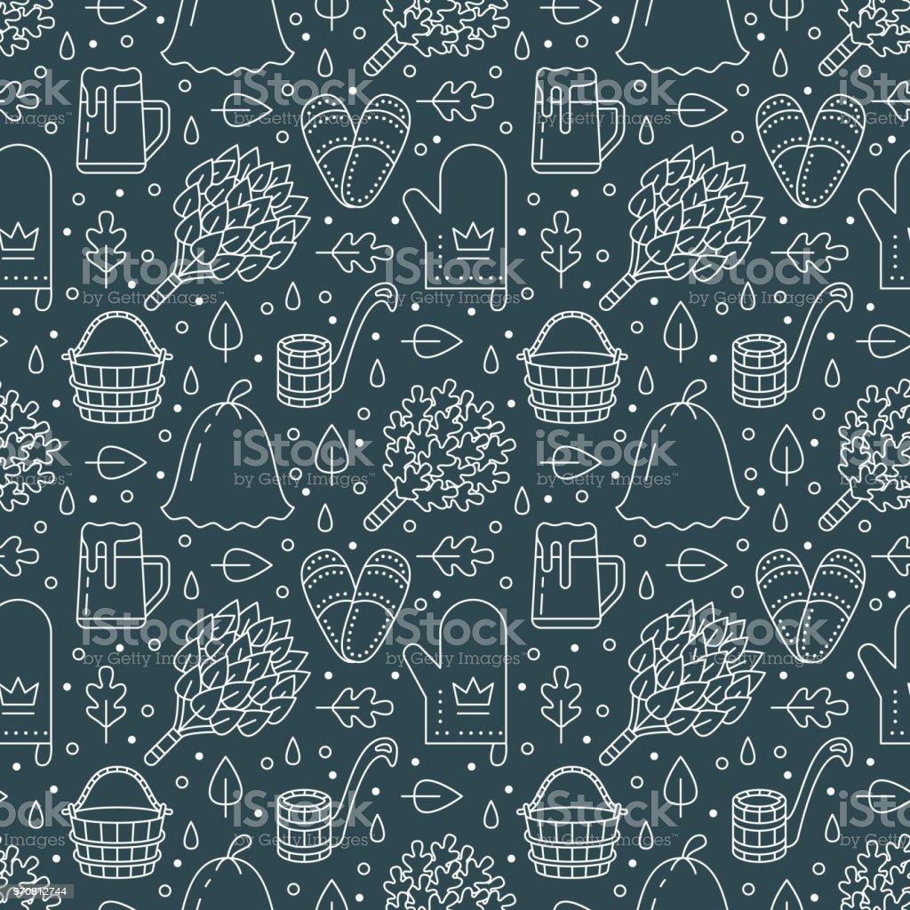 Sauna, steam bath room dark seamless pattern with line icons.Bathroom equipment birch, oak broom, bucket, beer. Finnish, russian banya. Health care green background for spa center vector art illustration