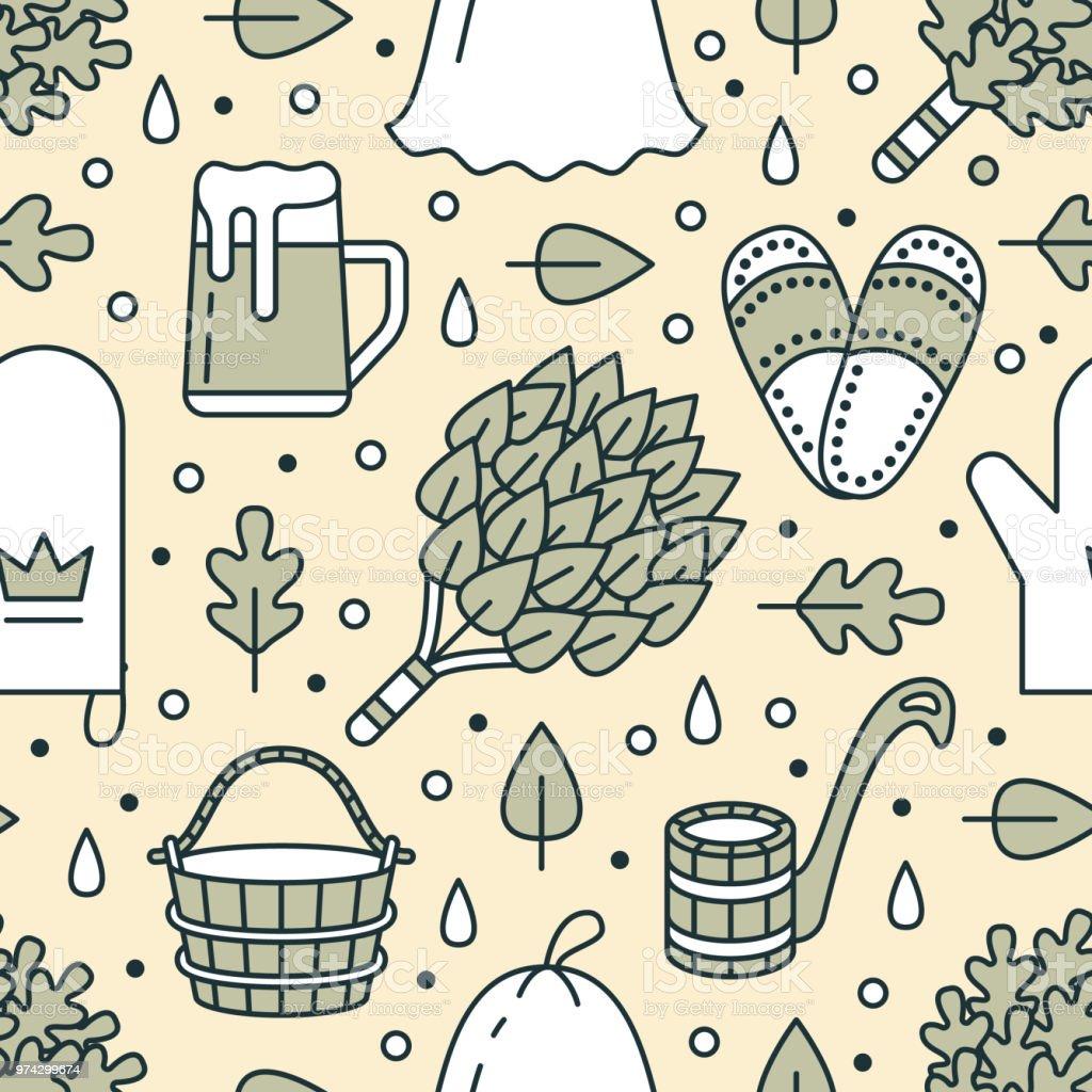 Sauna, steam bath room seamless pattern with line icons. Bathroom equipment birch, oak broom, bucket, beer, glove. Finnish, russian banya. Health care green yellow background for spa center vector art illustration