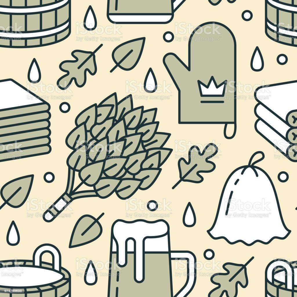 Sauna, steam bath room seamless pattern with line icons. Bathroom equipment birch, oak broom, bucket, beer. Finnish, russian banya. Health care background for spa center vector art illustration