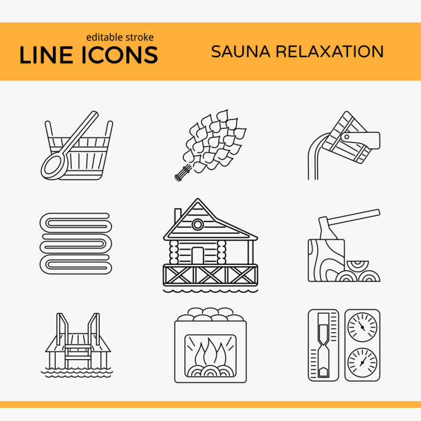 sauna theme icon set - sauna stock-grafiken, -clipart, -cartoons und -symbole