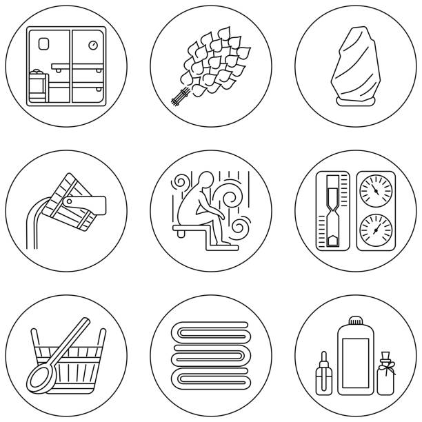 sauna-thema-icon-set - sauna stock-grafiken, -clipart, -cartoons und -symbole