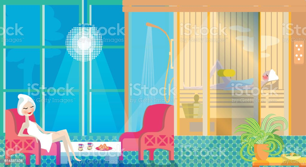 Sauna with steam room. Flat design. Women take spa treatments. vector art illustration