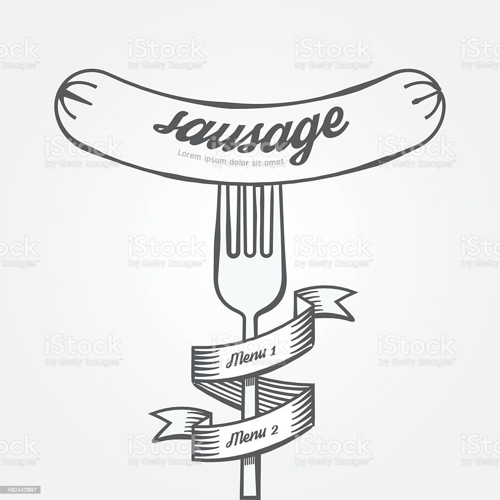 Sausage menu doodle drawn background.Vector vintage style vector art illustration