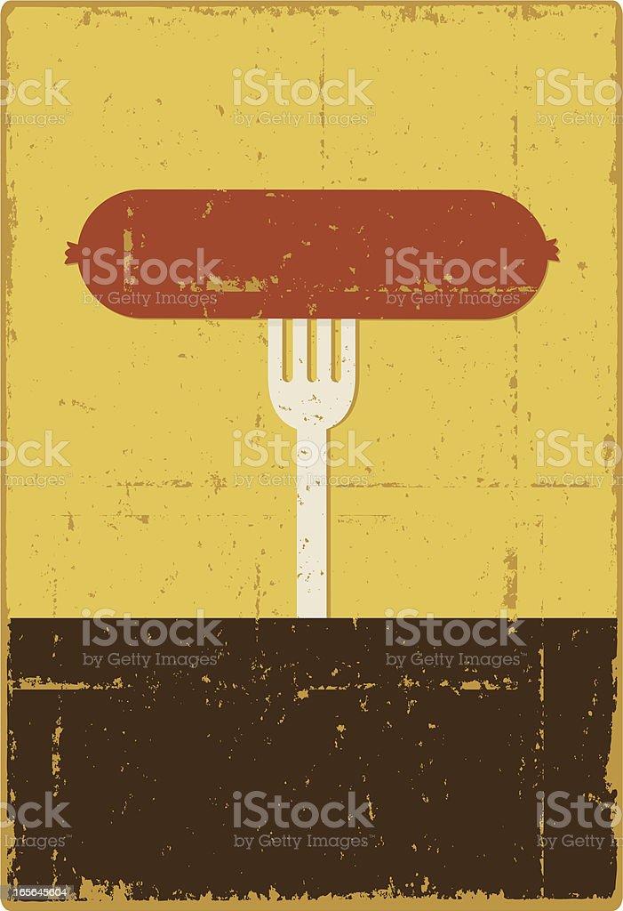 Sausage on a Fork vector art illustration