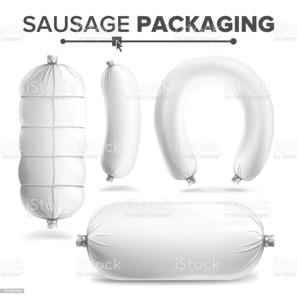 Sausage Package Set Vector. White Mock Up For Branding Design. Clean Plastic Packaging For Meat Product. Isolated Illustration vector art illustration