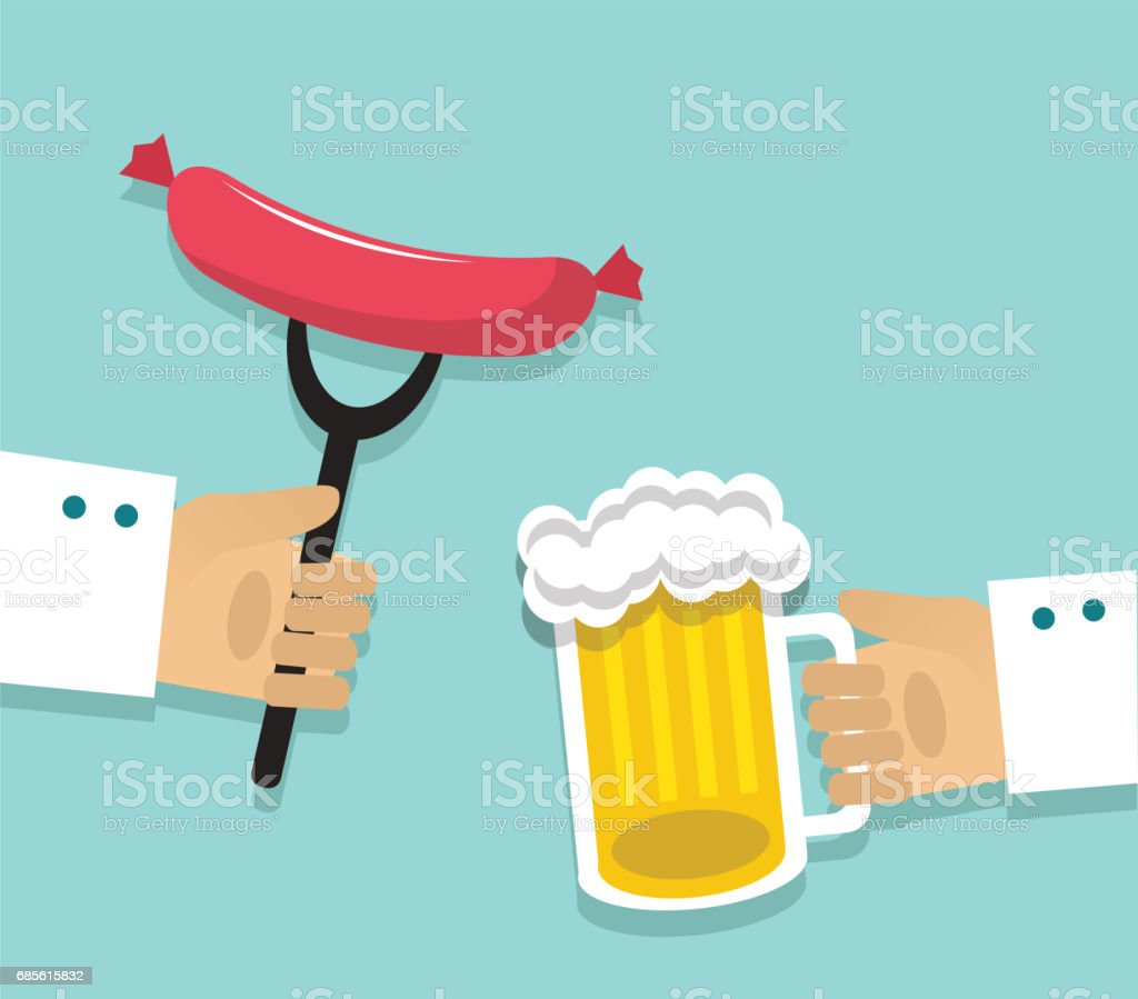 Sausages and beer royalty-free sausages and beer 갈색에 대한 스톡 벡터 아트 및 기타 이미지