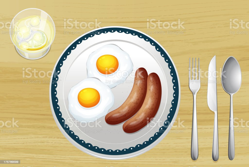 Sausages and eggs vector art illustration