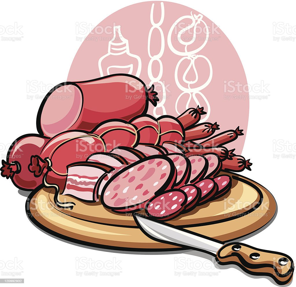 sausages and ham royalty-free stock vector art